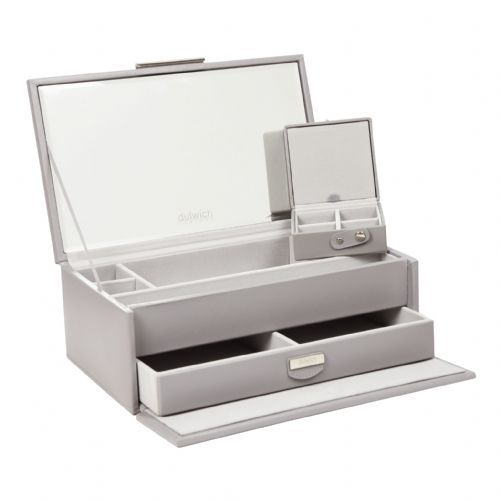 71175 Dulwich Designs Notting Hill Grey Medium Leather Jewellery Box